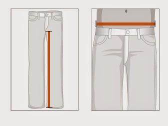 QueriaTanto.com - como tirar medidas de calça jeans EUA