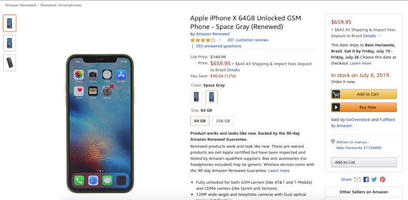 Comprando iphone na Amazon renewed